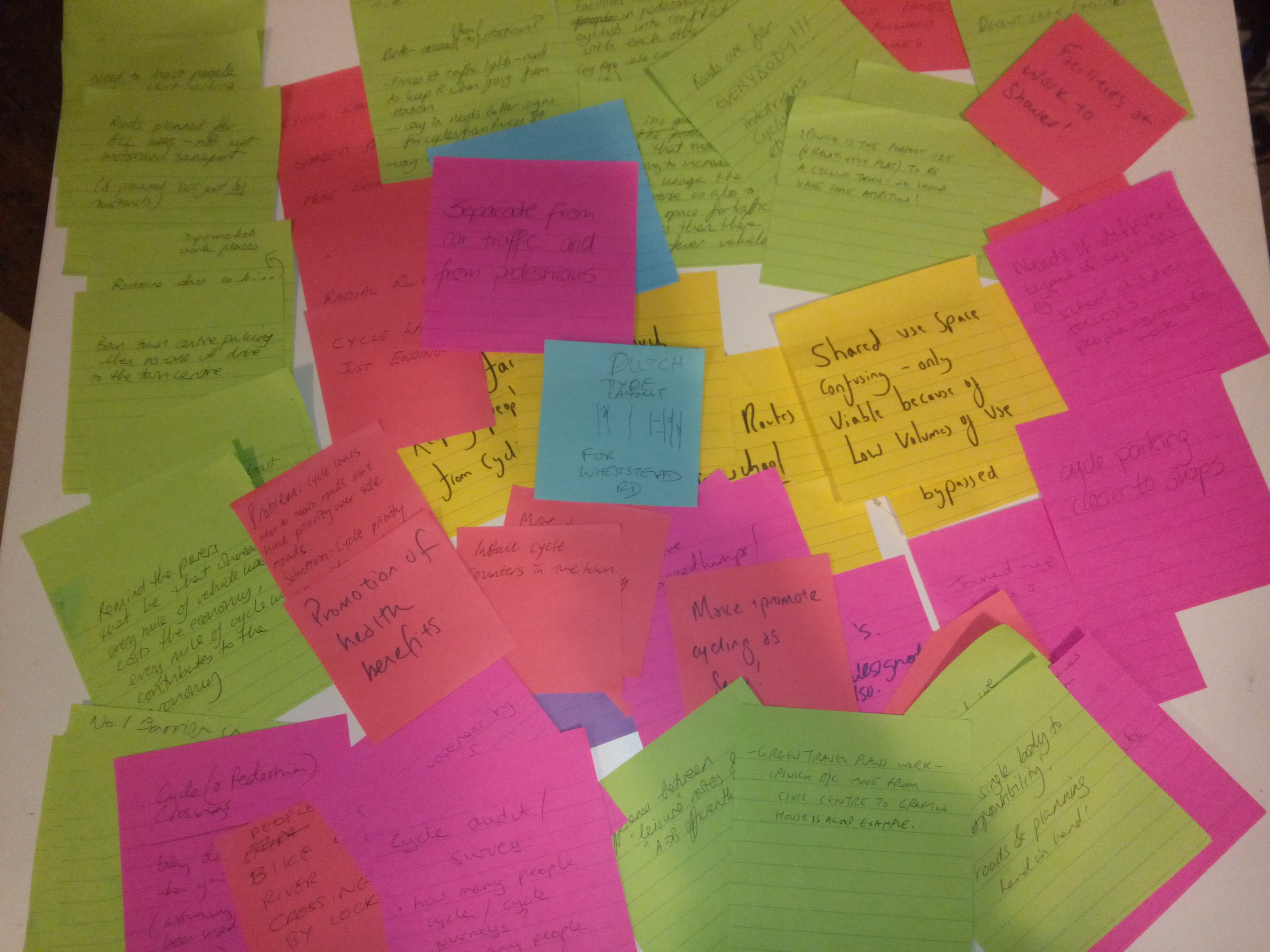 Post-its from the public meeting