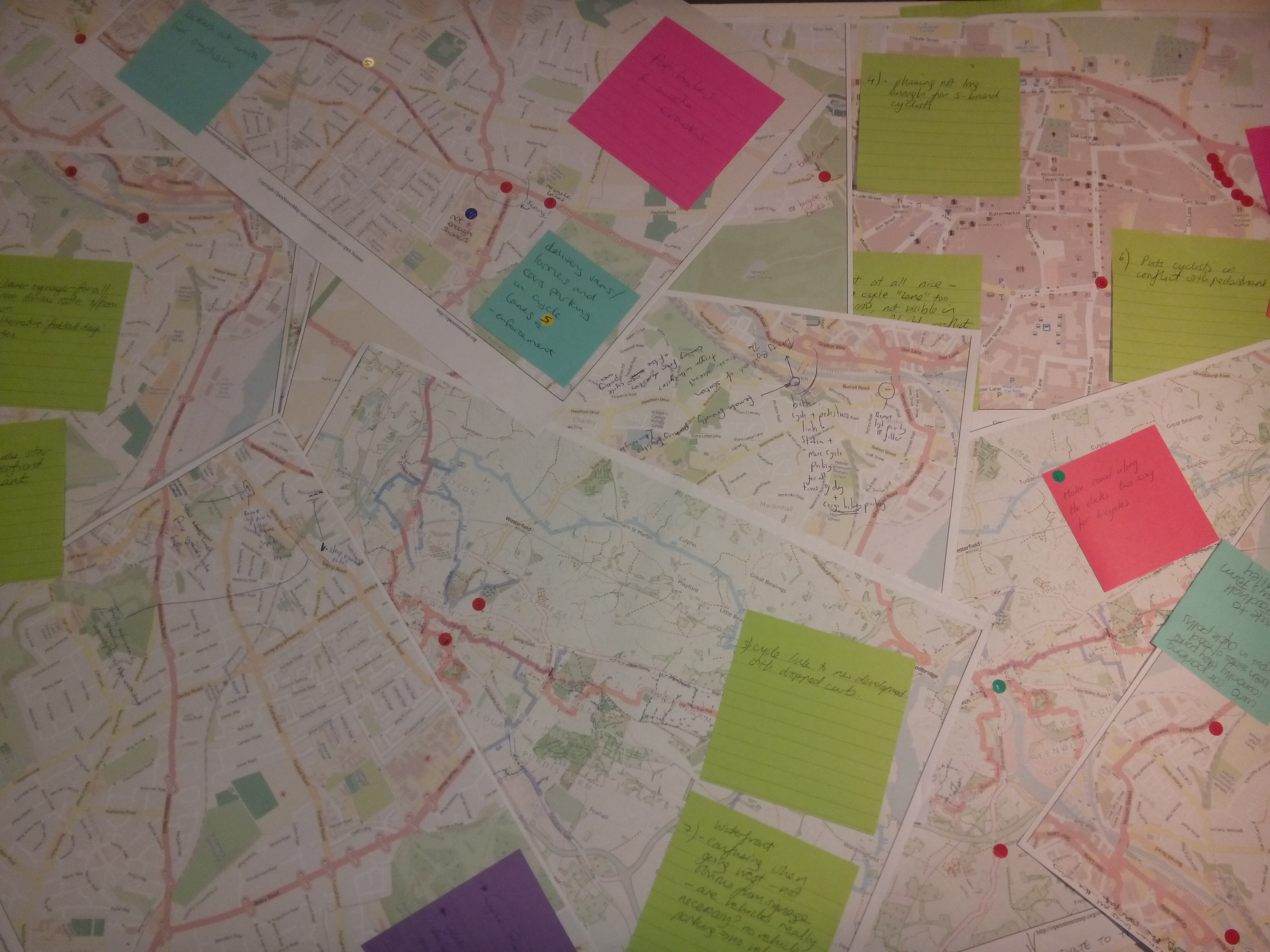 A selection of the maps with notes written on them