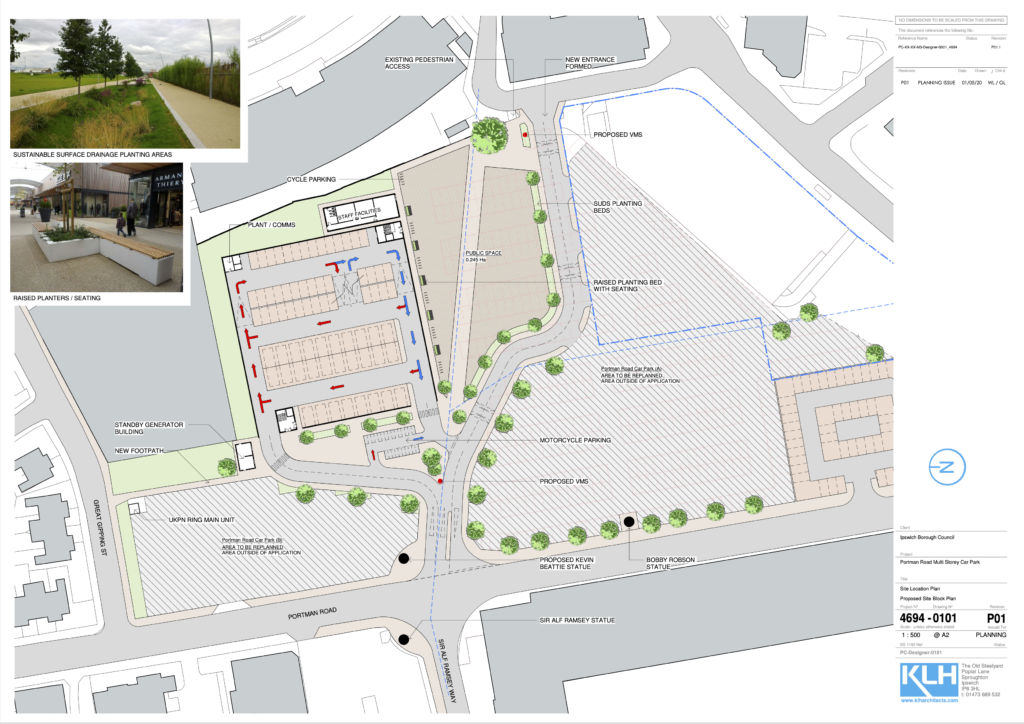 Map showing the proposed layout of the new car park.
