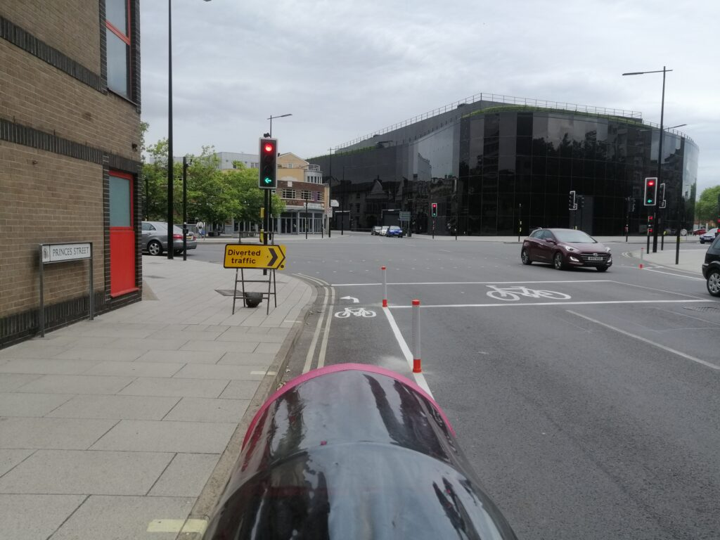Princes Street new cycle lane wands near Willis Building