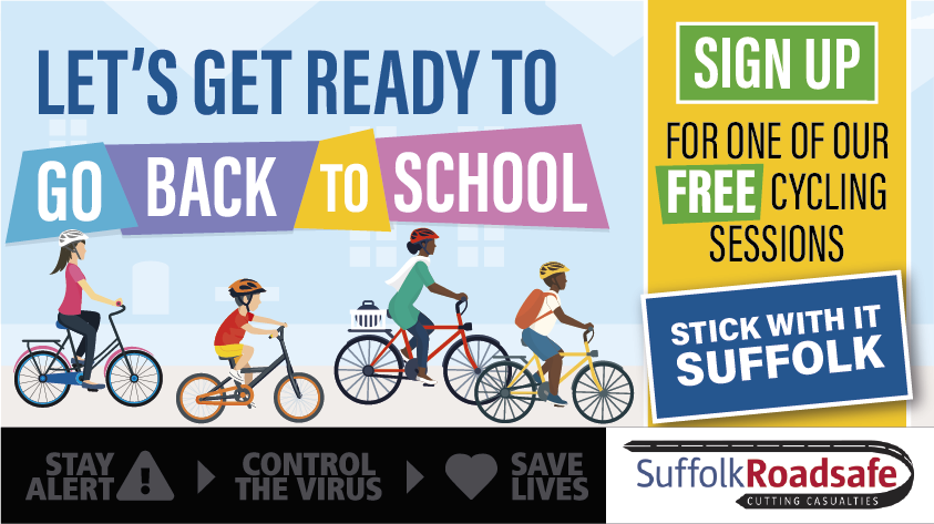 Advert for the free cycling sessions by SuffolkRoadsafe