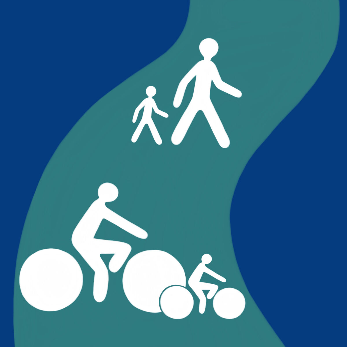 Ipswich Cycling and Walking Charter logo showing a family group walking and cycling on a path.
